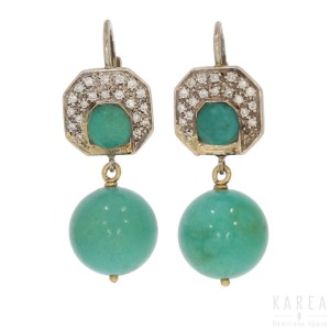 A pair of turquoise earrings, 20th century