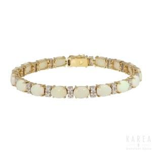 An opal and diamond bracelet, France, 20th century