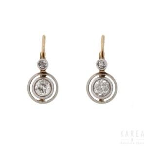 A pair of diamond earrings, 1920s-30s