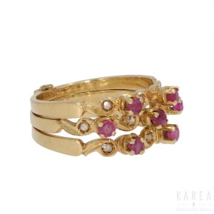 A ruby and diamond triple band ring, contemporary