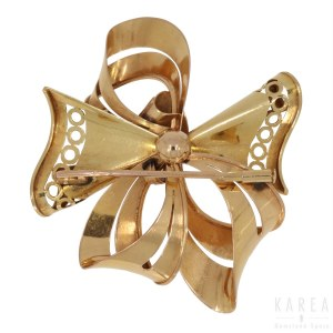 A brooch modelled as a stylised bow, France, 1960s-70s