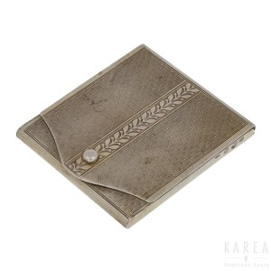 A silver match-book case cover, by Fritz Bemberg (active 1900-1940), Pforzheim, Germany, early 20th century