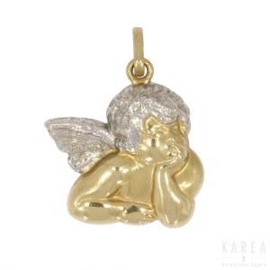 Wisiorek w formie anioła wg Rafaela Santiego, Włochy XX wiek