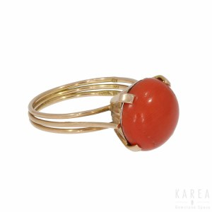 A coral set ring, Egypt, after 1940