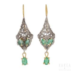 A pair of emerald set drop earrings, 20th century