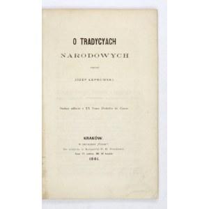 ŁEPKOWSKI J. - O tradycyach narodowych. 1861