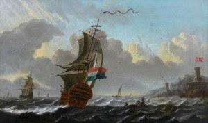 Aernout Smit (1641 Amsterdam-1710 tamże), Holenderskie żaglowce przy duńskim nabrzeżu