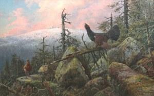 Carl Zimmermann (1863 Halberstadt-1930 Goslar), Cietrzewie na tle Śnieżki