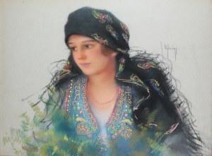 Józef Ujheli (1895-?), Portret kobiety w stroju ludowym