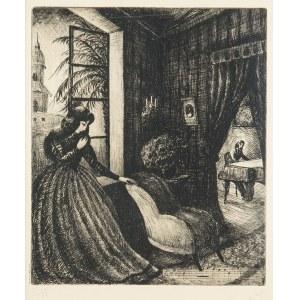 """Władysław Jahl (1886 Jarosław – 1953 Paryż), George Sand słuchająca gry Chopina – z teki """"Chopin"""", 1949 r."""