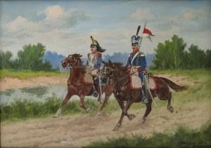 Edward MESJASZ (1929-2007), Ułan i kirasjer na koniach, 1993
