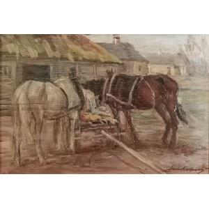 Jan Erazm KOTOWSKI (1885-1960), Konie na popasie