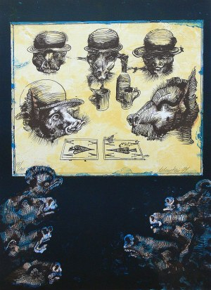 Jan Lebenstein ( 1930 - 1999 ), Folwark zwierzęcy , 1979