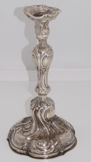 neorokokowy świecznik srebrny próba 800 herb Leliwa
