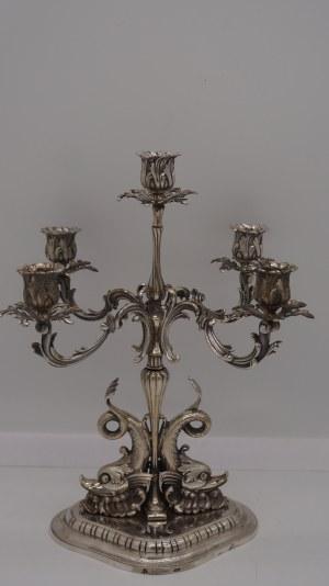 kandelabr na trytonach, srebro 1162g