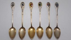 sześć łyżeczek srebrnych z emaliami