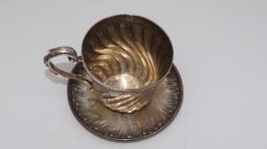 filiżanka ze spodkiem, srebro, Francja 118g