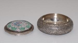 puzderko srebrne z emalią