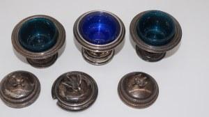 komplet trzech naczyń do przypraw, srebro 124g