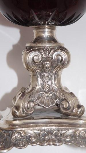 patera srebrna z rubinowym szkłem