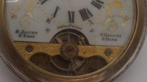 szwajcarski zegarek kieszonkowy, ośmiodniowy w srebrze