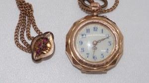 zegarek kieszonkowy w złocie z metalową dewizką