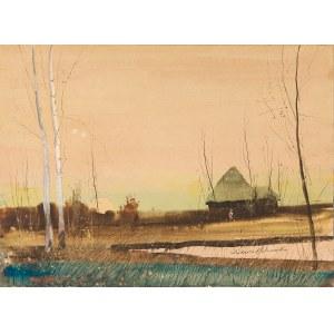 Holzmüller Juliusz (1876-1932), Chaty przy zachodzie słońca