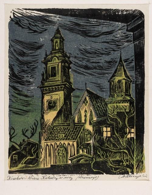 Raczyński Stanisław (1903-1982), Kraków. Wieże katedry w nocy, lata 50. XX w.