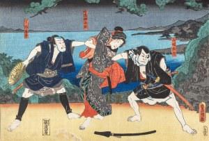 Utagawa Kunisada (1786-1865), Scena z cyklu Chushingura, ok. 1850