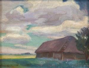 Stanisław Paciorek (1889-1952), Pejzaż ze stodołą, lata 40. XX w.
