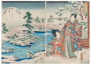 Hiroshige II (1826-1869) oraz Toyokuni III (1786-1865), Książę Genji oglądający górę Fuji w śniegu, 1859