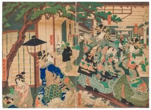 Utagawa Kunisada (1786-1865), Scena nocna w Yoshiwara, słynnej dzielnicy czerwonych latarni w Edo (Tokio), poł. XIX w.