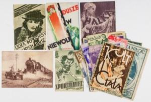Zestaw programów kinowych, przed 1945, Rotograwiury barwne i monochromatyczne. Zestaw 34 programów kinowych z okresu międzywojennego oraz czasu okupacji; druki rotograwiurowe barwne lub monochromatyczne w różnych formatach; reklamy wydawane przez wytwórni