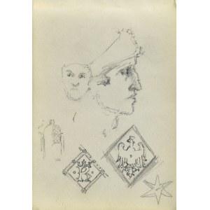 Józef PIENIĄŻEK (1888-1953), Szkice głowy w ujęciu en face i w ujęciu z profilu oraz szkic drzwi do katedry na Wawelu wraz z motywami
