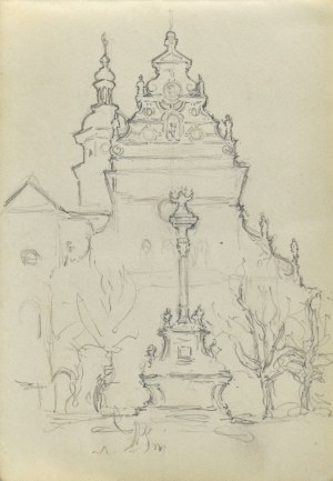 Józef PIENIĄŻEK (1888-1953), Widok na fasadę kościoła
