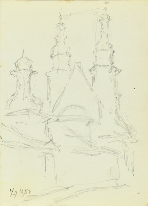 Józef PIENIĄŻEK (1888-1953), Kościół św. Andrzeja w Krakowie, widok od wschodu, 1950