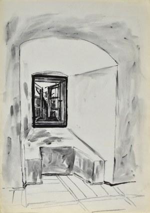 Ludwik MACIĄG (1920-2007), Szkic fragmentu wnętrza z wnęką okienną