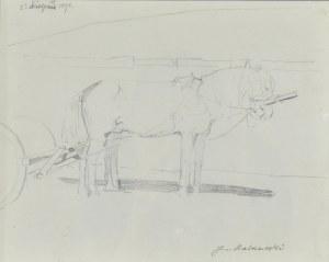Jacek MALCZEWSKI (1854-1929), Szkic koni w zaprzęgu, 1898
