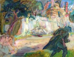 Kasper POCHWALSKI (1899-1971), Scena rodzajowa - wrzesień 1939 z cyklu Exodus, 1964