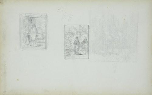 Stanisław CHLEBOWSKI (1835-1884), Miniaturowy zarys dwóch obrazów o tematyce portretowej