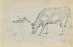 Stanisław ŻURAWSKI (1889-1976), Szkic pasącej się krowy oraz leżącej w dali pary, 1924