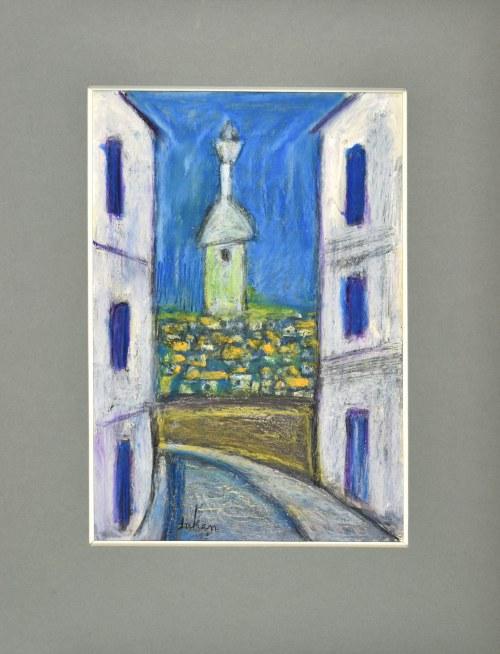 Eugeniusz TUKAN - WOLSKI (1928-2014), Uliczka miejska z widokiem na kapliczkę