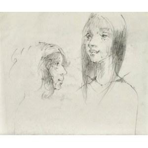 Roman BANASZEWSKI (1932-2021), Szkice twarzy młodej kobiety w dwóch ujęciach
