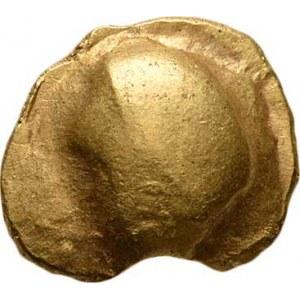 Střední Evropa, Bójové, 2. - 1. stol. př.Kr., Statér mladší mušlové řady - půlměsíc a prohlubeň /