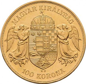 František Josef I., 1848 - 1916, 100 Koruna 1908 KB - novoražba, 33.820g