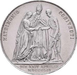 Konvenční měna, údobí let 1848 - 1857, 1/2 Tolar 1854 A, Vídeň - svatební, 12.986g, dr.hr.,