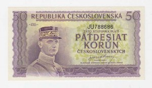 Československo - státovky londýnské emise, 50 Koruna (1945), série JU, BHK.73, He.78a