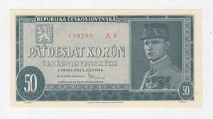 Československo - bankovky a státovky 1945 - 1953, 50 Koruna 1948, série A8, BHK.81a, He.88a1.s1,