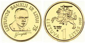 Lithuania 1 Litas 1997 75th Anniversary - Bank of Lithuania. Averse: National arms above value. Reverse: Bust 1/4 right...