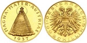 Austria 100 Schilling 1937 Averse: Haloed eagle with Austrian shield on breast; value below. Reverse...
